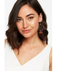 Wallis - Metallic Rose Gold Triangle Hoop Earring - Lyst