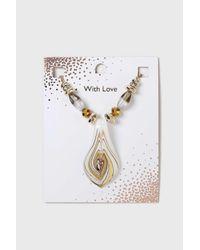 Wallis - Metallic Beige Murano Beaded Necklace - Lyst