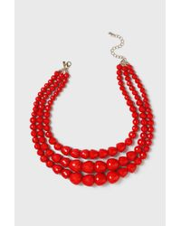 Wallis - Beaded Red Multirow Necklace - Lyst