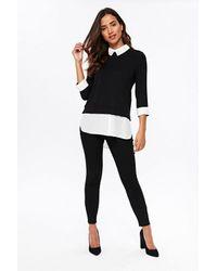 Wallis Petite Black Embellished Collar Top