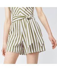Warehouse | Green Stripe Belted Playsuit | Lyst
