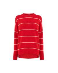 Warehouse Red Fine Stripe Cosy Jumper