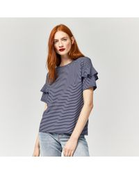 Warehouse - Blue Stripe Frill Sleeve Tee - Lyst