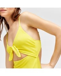 Warehouse Yellow Textured Cutabout Swimsuit