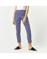 Warehouse - Blue Woodblock Trousers - Lyst