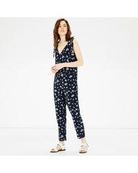 Warehouse - Blue Leaf Print Jumpsuit - Lyst