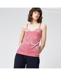 Warehouse - Pink Crushed Velvet Cami - Lyst