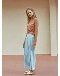 W Concept - Blue Side Tuck Slacks Mint - Lyst