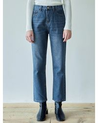 YAN13 Blue Hard Wash Wide Jean