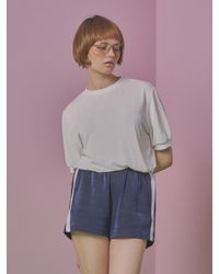 ANOTHER A - Blue Satin Boxy Shorts (navy) - Lyst