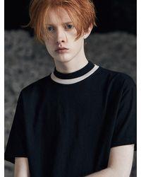 VOIEBIT Black V301 Double Neck Half T-shirts_beige