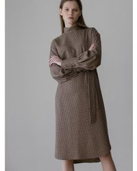 AEER Pleated Button Back Wool Dress Brown