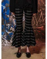 NASTY HABIT - Black V-line Flare Checked Pants - Lyst