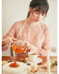 W Concept Lovely Lace Dress Coral Pink