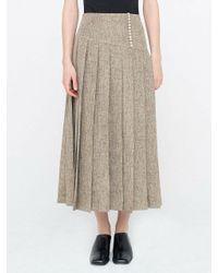 WNDERKAMMER Brown Button Down Pleats Skirt