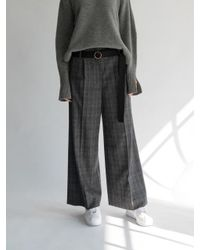 AEER Glen Check Wide Wool Cashmere Pants Gray