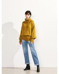 VOIEBIT Green V523 Loose Hem Turtleneck Wool Knit