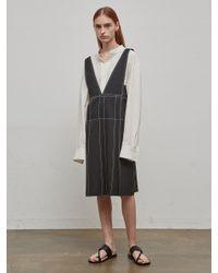 Low Classic Black Stitch Sleeveless Dress
