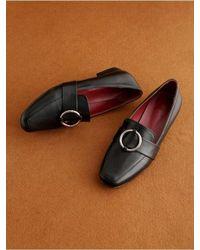 &W STUDIO - Black Ring Buckle Loafer - Lyst
