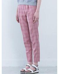NASTY HABIT [unisex] Pink Check Slacks