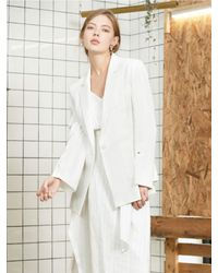CLUE DE CLARE - Slit Unbalance Jacket White - Lyst