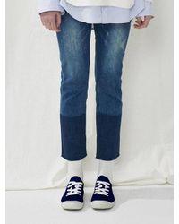 A.T.CORNER Dark Blue Damage Two-tone Denim Pants Atpa7d138