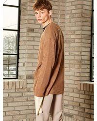 YAN13 Natural Drop Shoulder Cardigan Dark Beige for men