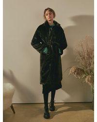 YAN13 Black Soft Fur Robe Long Coat