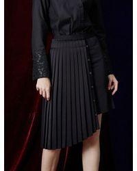 W Concept   Black Unbalance Pleats Skirt   Lyst