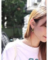 AOULIN Pink Clear Geo Drop Earring