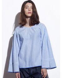 W Concept | Blue C L O Stripe Tunic Shirt Caf8jb02 Bl | Lyst