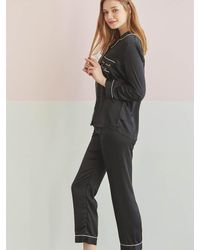 EBLIN - Black Solid Pajama Two-piece And Eye Cover Set - Lyst