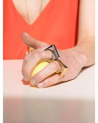 VIOLLINA Metallic Square Inner Twisted Ring Silver