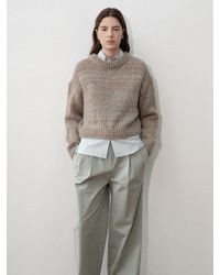 Amomento Natural Loose Fit Cropped Body Pullover Sweater