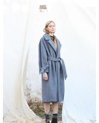W Concept Wool Gray Blue Twill Splicing Long Coat