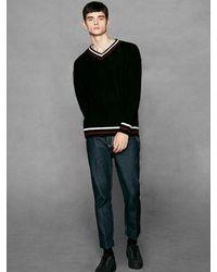 VOIEBIT Black [unisex] V512 Two Tone V-neck Knit for men