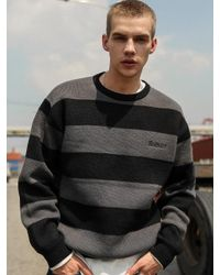 MADMARS Gray [unisex] Stripe Knit Charcoal for men
