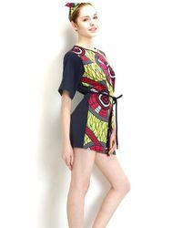 ETHRICA Multicolor Boxy Mini Dress, Unfolded Folding Fan