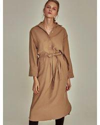 YAN13 Natural Robe Slit Long Sh Dress_beige