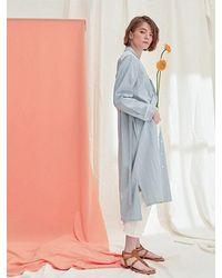 PLOT Single Button Up Dress Coat Stripe Blue