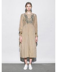 OUAHSOMMET - Natural Embroidery Silk Dress_bg - Lyst