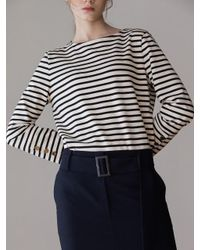 AEER Blue H Line Slit Wool Skirt Navy