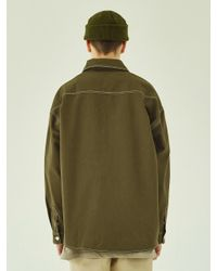 W Concept Green Cut Ctrs St Over Shirts-khaki for men