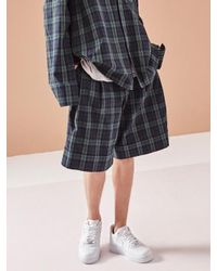 NOHANT - Pleated Check Shorts Green for Men - Lyst