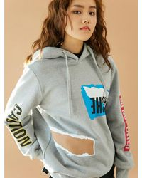 BONNIE&BLANCHE Gray Cotton Stitching Hooded Sweatshirt
