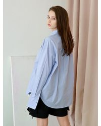 APPARELXIT [unisex] Edge Collar Overfit Shirts Skyblue