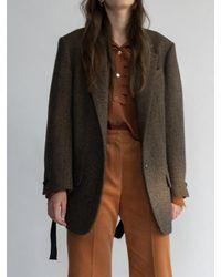 AEER - Unit Harringbone Wool Jacket Brown - Lyst