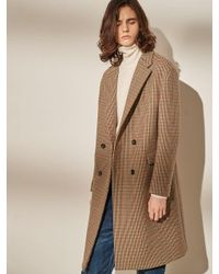 W Concept - Brown Double Check Coat - Lyst