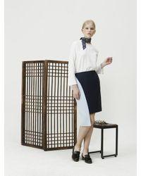 ETHRICA Blue Unbalanced Cut-out Skirt (navy)