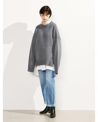 VOIEBIT Green [unisex] V521 Side Button Round Wool Knit